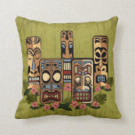"Tiki Party Pillow<br><div class=""desc"">5 little tiki gods all in a row... . If tikis don&#39;t take you back to the 50&#39;s -nothing will!  Add text to personalize this pillow and make it your own atomic age tribute!</div>"