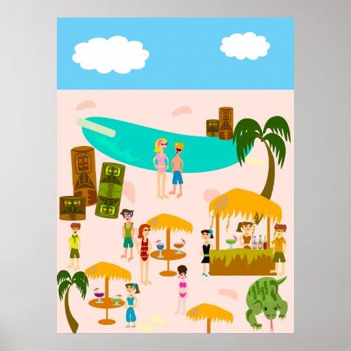 Tiki Pool Party Poster