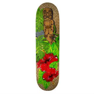 Tiki Red Hibiscus Lauhala Skateboard