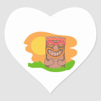 TIKI SUNSET HEART STICKERS
