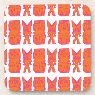 Tiki Time in Orange Beverage Coasters