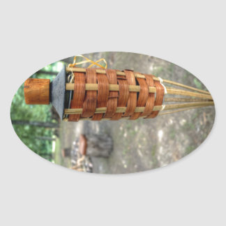 Tiki Torch and Camp Fire Oval Sticker
