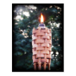 Tiki Torch - Bamboo Outdoor Torch with Flame Postcard