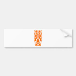 tiki totem warrior orange bumper sticker