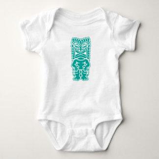 tiki totem warrior teal baby bodysuit