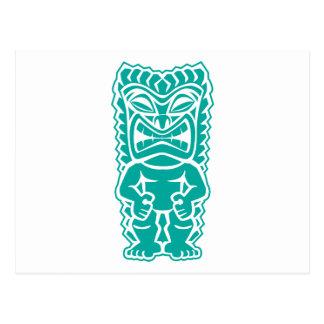 tiki totem warrior teal postcard