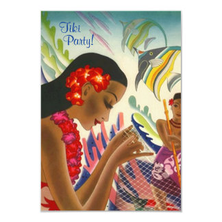 Tiki Tropical Lei Hawaiian Luau party INVITATON Card