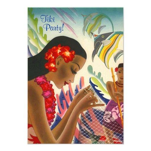 Tiki Tropical Lei Hawaiian Luau party INVITATON Personalized Invitation
