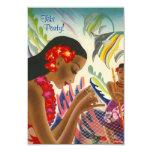 Tiki Tropical Lei Hawaiian Luau party INVITATON 3.5x5 Paper Invitation Card