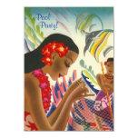 Tiki Tropical Lei Hawaiian Pool party INVITATON 4.5x6.25 Paper Invitation Card