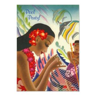 Tiki Tropical Lei Hawaiian Pool party INVITATON Custom Announcement
