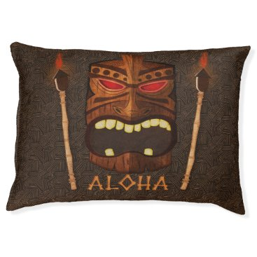 Hawaiian Themed Tiki Vintage Wooden Wood Mask Aloha Pet Bed