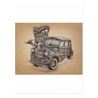 Tiki Woodie Postcards