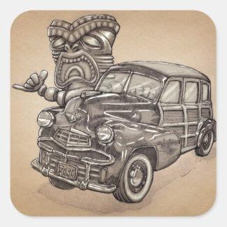 Tiki Woodie Square Sticker