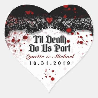 Til Death Blood Splatter Halloween Heart Wedding Heart Sticker