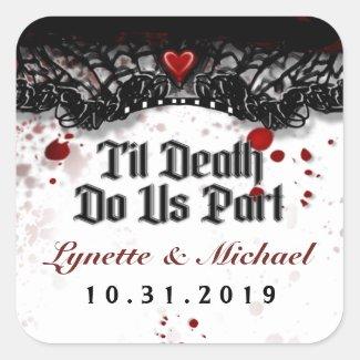 Til Death Blood Splatter Halloween Square Wedding
