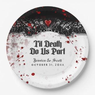 Til Death Do Us Part Blood Splatter Names Wedding Paper Plate