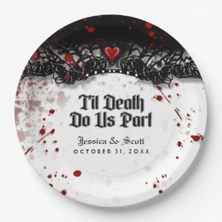 Til Death Do Us Part Blood Splatter Names Wedding Paper Plate