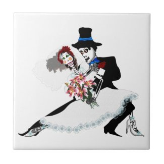 'Til Death Do Us Part - Day of the Dead wedding Tile