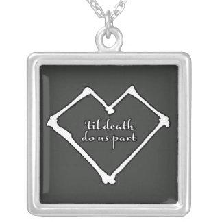 'til death do us part silver plated necklace