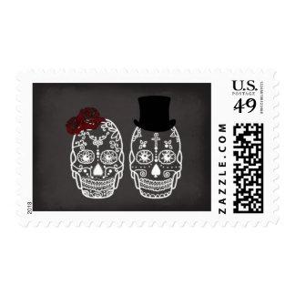 Til Death Do Us Part Skull Stamp Day of the Dead