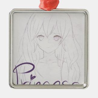 tila anime girl chica princess adorno navideño cuadrado de metal