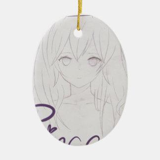 tila anime girl chica princess adorno navideño ovalado de cerámica