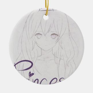 tila anime girl chica princess adorno navideño redondo de cerámica