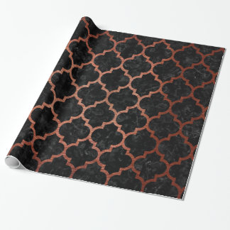 TILE1 BLACK MARBLE & COPPER BRUSHED METAL WRAPPING PAPER