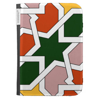 Tile 01 of green and red geometric drawing in
