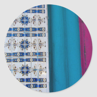 Tile Abstract Classic Round Sticker