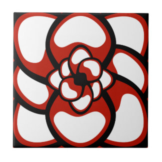 Tile, Abstract Flower 3, Red, Black, White