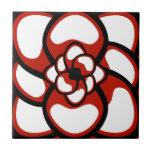 """Tile, Abstract Flower 3, Red, Black, White Ceramic Tile<br><div class=""""desc"""">Add a frame!</div>"""