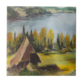 Tile Ann Hayes Painting Chalet On The Lake