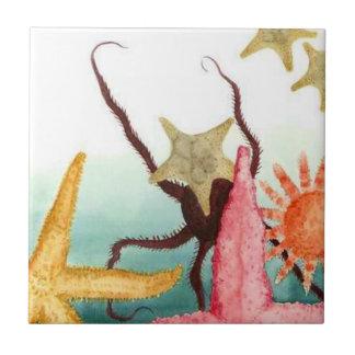 Tile Aqua Ocean Alive Sea Life Starfish Octupus