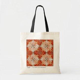 Tile Art Orange Tote Bag bag