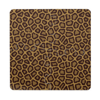 Tile background with a leopard fur puzzle coaster