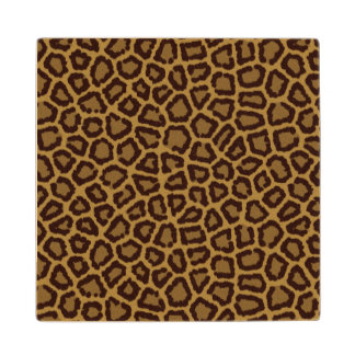 Tile background with a leopard fur wood coaster