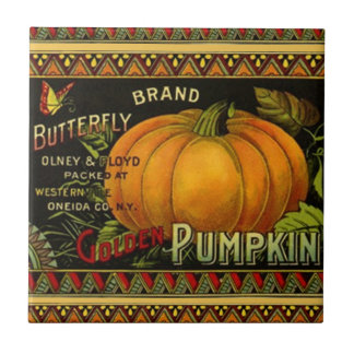 Tile Butterfly Pumpkin Vintage Produce Label