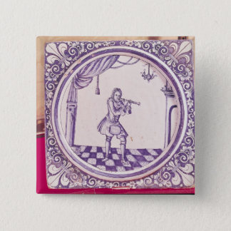 Tile depicting a clarinetist, 1706 button