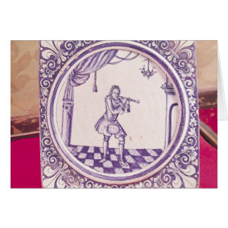 Tile depicting a clarinetist, 1706 card