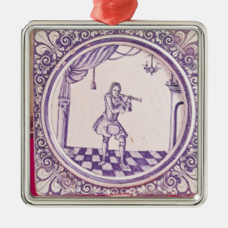 Tile depicting a clarinetist, 1706 metal ornament