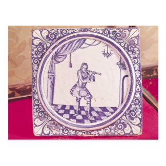 Tile depicting a clarinetist, 1706 postcard