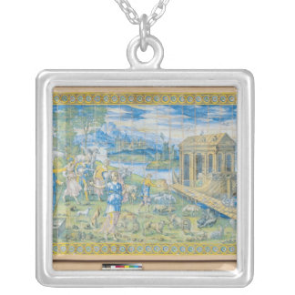 Tile depicting the Story of Noah Silver Plated Necklace