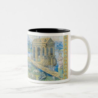 Tile depicting the Story of Noah Two-Tone Coffee Mug