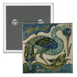 Tile design of heron and fish, by Walter Crane Pins