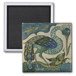 Tile design of heron and fish, by Walter Crane 2 Inch Square Magnet