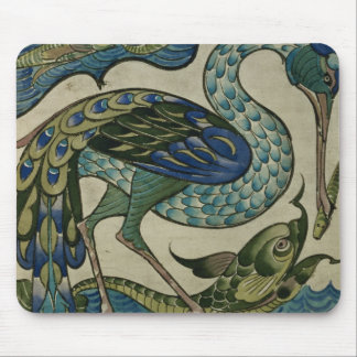 Tile design of heron and fish, by Walter Crane Mouse Pad