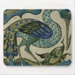 Tile design of heron and fish, by Walter Crane Mousepads