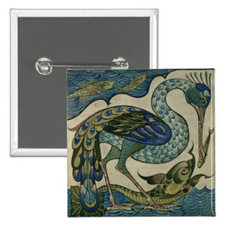 Tile design of heron and fish, by Walter Crane Pinback Button